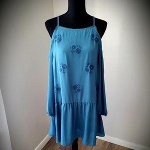 EUC Dropwaist Cold Shoulder Embroidered Dress